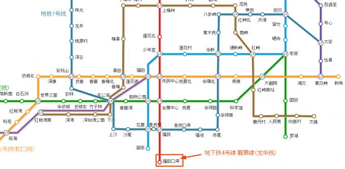 深センから香港への地下鉄
